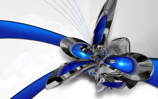 Обои Синий металлический 3D цветок-абстракция