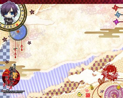 Обои Хадзимэ Сайто / Hajime Saito из аниме Сказание о Демонах бледно-розовой сакуры / Hakuouki / Hakuoki Shinsengumi Kitan