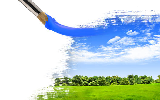 Обои Недорисованная картина, с изображением зелёного поля и неба, и кисть, испачканная в голубой краске, рисующая небо