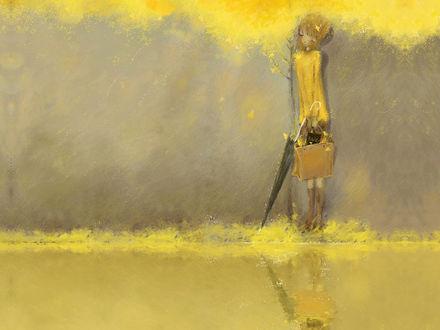 Обои Девушка с зонтиком и сумкой в руках под деревом с жёлтой листвой - художник-иллюстратор Christian Asuh / Кристиан Асу