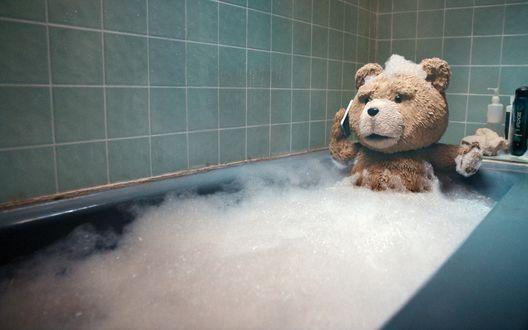 Обои Медведь лежит в ванной и разговаривает по телефону (фильм *Третий лишний / Ted*)