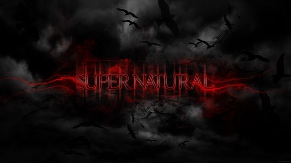 Обои Фон к сериалу Сверхъестественное / Supernatural с красными молниями и тенями птиц
