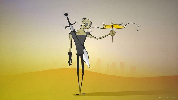 Обои Человек в очках и с огромным мечем за спиной в пустынной местности нашел волшебный цветок, и сорвал его (Ruslan Babkin)