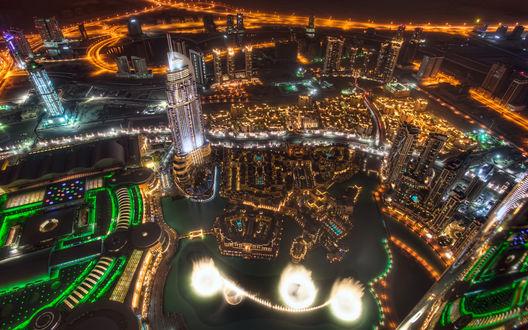 Обои Ночной город  Дубай / Dubai с высоты птичьего полета