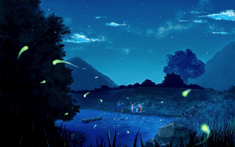 Обои для рабочего стола Группа молодых людей на берегу озера ночью, аниме Наруто: Ураганные хроники  Naruto: Hurricane Chronicles