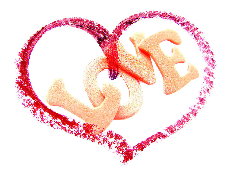Обои для рабочего стола Сердце с надписью внутри (Любовь / Love)