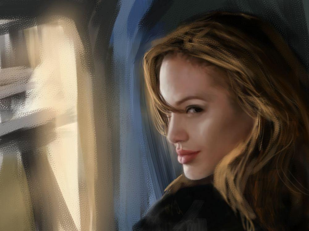 Обои для рабочего стола Анджелина Джоли / Angelina Jolie, art by RikaMello
