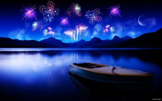 Обои Салют у озера, на озере лодка