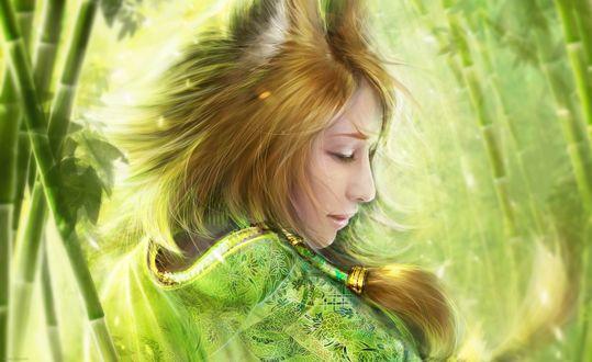 Обои Kitsune / Кицунэ - девушка-лисичка, среди зарослей зелёного бамбука, арт / art by Helen Rusovich