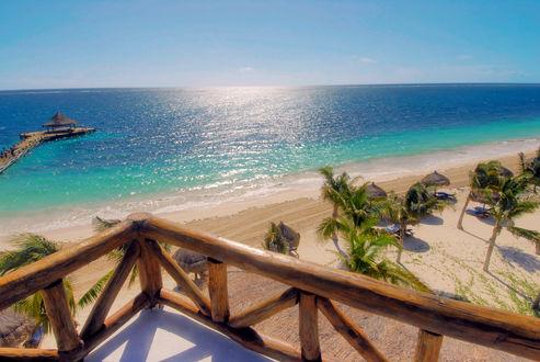 Обои Восхитительный вид на Карибское море с терассы отеля Ceiba del Mar Spa Resort 5* в Пуэрто-Морелос / Puerto Morelos, Мексика / Mexico