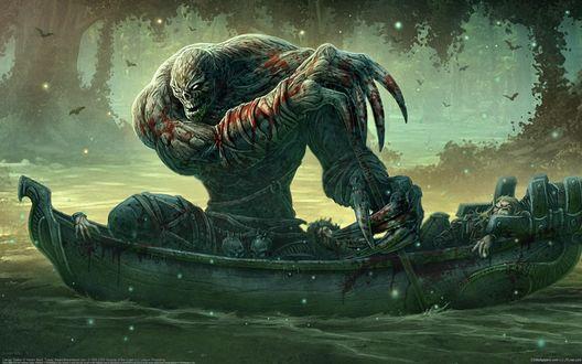 Обои Огромный монстр в крови едет в лодке с трупами своих жертв в глухом лесу, kerem beyit art