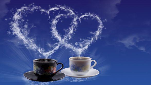 Обои Две чашки с кофе, аромат от которых распостраняется в виде сплетённых сердечек