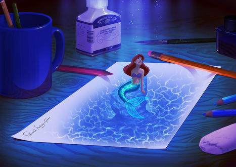 Обои Ожившая на рабочем столе художника-аниматора русалочка Ариэль / Ariel
