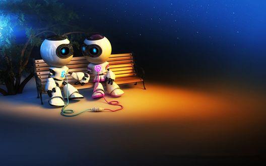 Обои Пара роботов-романтиков, сидящих на скамейке в ночное время в свете уличного фонаря, общаются между собой с помощью проводов