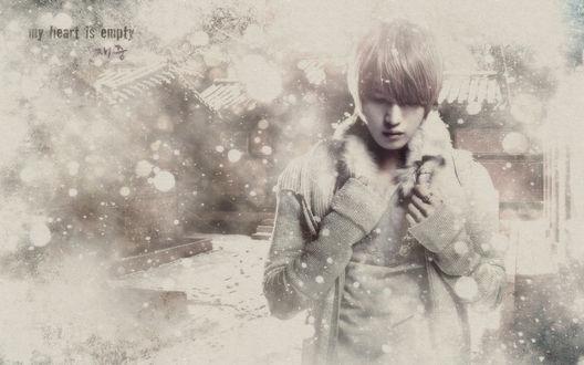 Обои Хиро Джеджун / Hero JaeJoong на улице в снегопад (my heart is empty / пустота в моем сердце)