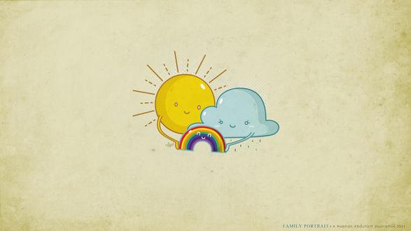 Обои От союза солнышка и тучки появилась на свет радуга, излучающая радость (Family Portrait, a Nabhan Abdullatif Illustration 2011)
