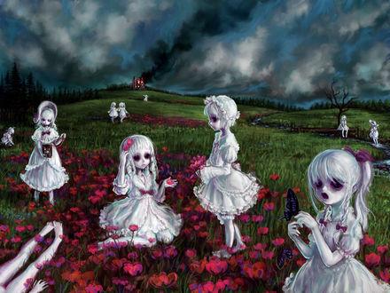 Обои Жуткие девочки-лолитки с пустыми глазницами гуляют на поляне среди красных маков, вдали виднеется горящий дом, из которого струится черный дым, арт японского художника Хироюки Мано / Picnic at Smoky Hill, art by Hiroyuki Mano