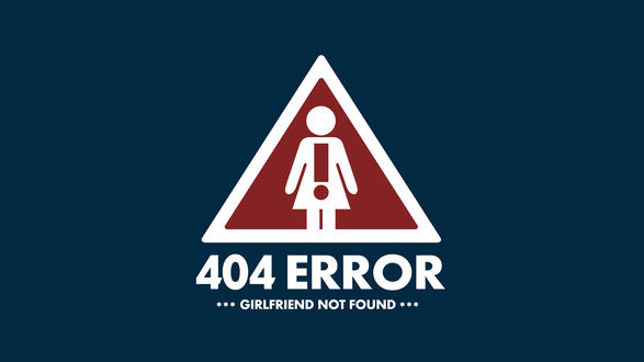 Обои Знак с девушкой с восклицательным знаком в треугольнике ( 404  error, girlfriend not found / 404 Ошибка, подруга не найдена )