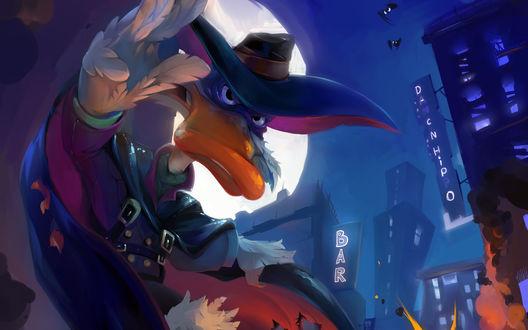 Обои Darkwing Duck / Черный Плащ в  городе Сэн-канар на фоне луны и зданий
