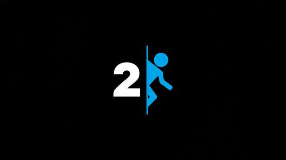 Обои Игра Portal 2 / Портал 2, синий человечек и цифра 2 на логотипе
