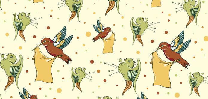 Обои Птицы калибри с кусками ткани летают среди разноцветных кружков