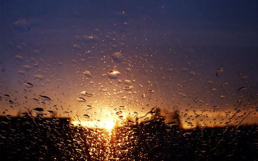 Обои Капли воды на стекле, сквозь которое видно диск солнца