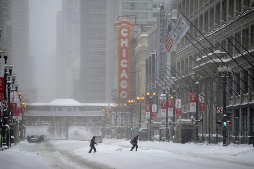 Обои USA, Illinois, Chicago / Америка, Иллинойс, Чикаго в снежную метель