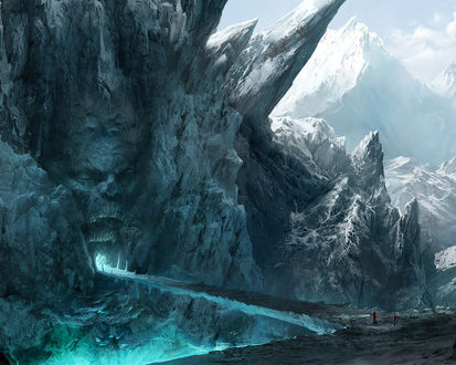 Обои Двое неизвестных стоят перед входом в таинственную пещеру