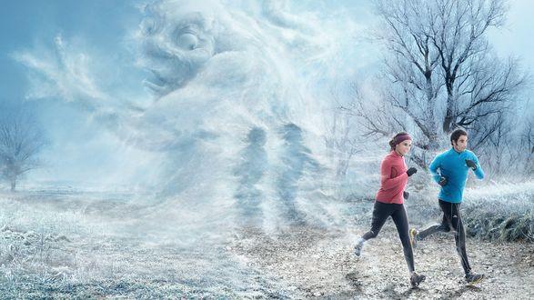 Обои Холод, своеобразный дух зимы, удивлен, что сквозь него пробежала парочка