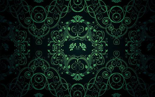 Обои Красивый зеленый узор на черном фоне