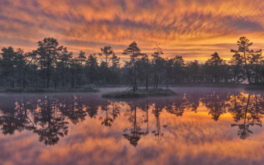 Обои Розовое небо отражается в озере