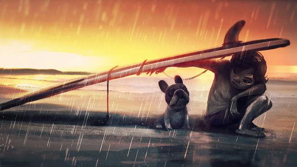 Обои Мальчик с песиком, сидящие на берегу озера, укрылись от дождя под деревянной доской на фоне заката