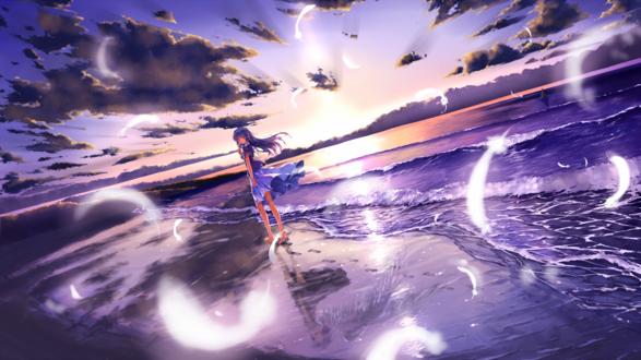 Обои Анимешная девушка в сиреневом платье идёт по морскому побережью на закате дня, на мокром песке видно её отражение с ангельскими крыльями за спиной, в воздухе парят белые перья