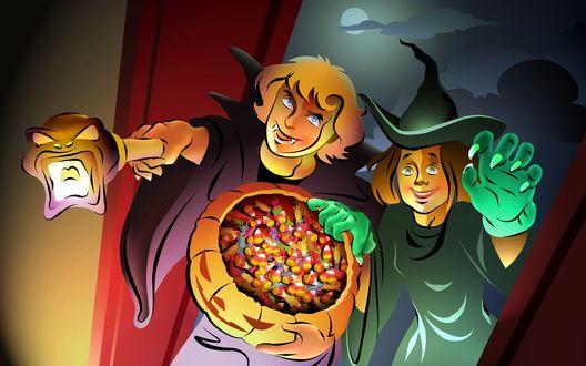 Обои Детский праздник - Хэллоуин