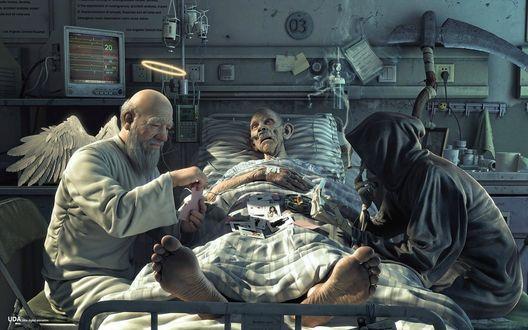 Обои Ангел и Смерть играют в карты у кровати больного