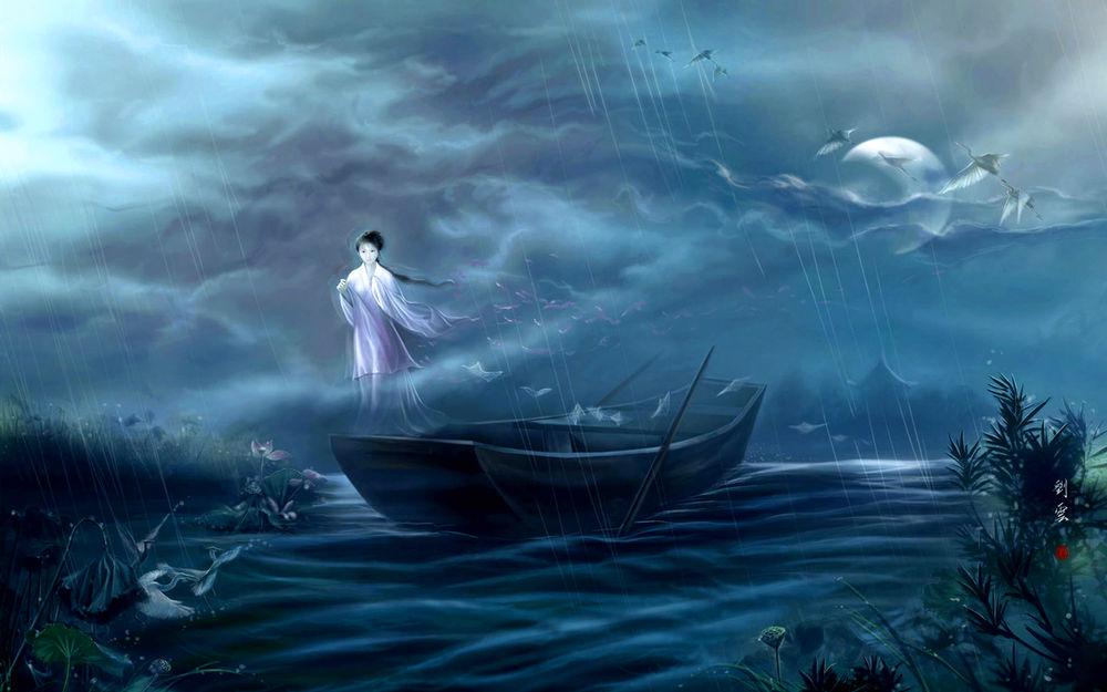 Обои для рабочего стола Призрак девушки - японки стоит на краю лодки, плывущей дождливой ночью
