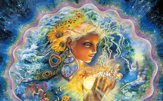 Обои Картина художницы Жозефины Уолл / Josephine Wall -  'Создание лета' / 'Creation Of Summer'