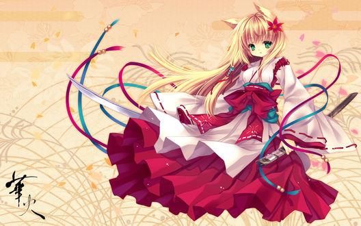 Обои Kitsune / Кицунэ - девушка-лисичка, с катаной