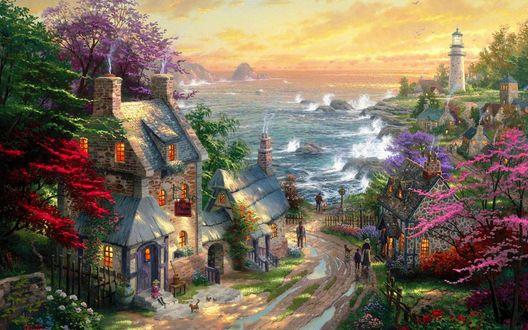 Обои Уютный морской поселок, художник Thomas Kinkade / Томас Кинкейд