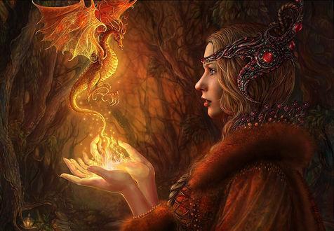 Обои Огненный дракон в руках у девушки