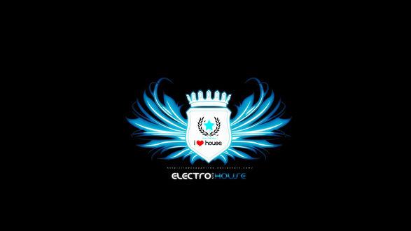 Обои Логотип Электронной хаус музыки на черном фоне (electro house, I love house music)