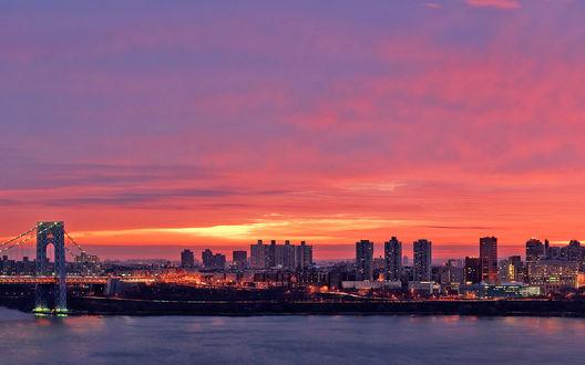 Обои Розовый закат над Нью-Йорком / New York City