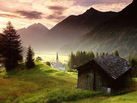 Обои Деревушка, находящаяся у гор, Austria, Tyrol / Автрия, Тироль