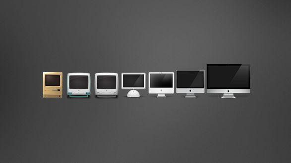 Обои Эволюция мониторов и компьютеров Apple / Эппл, 7 мониторов на сером фоне