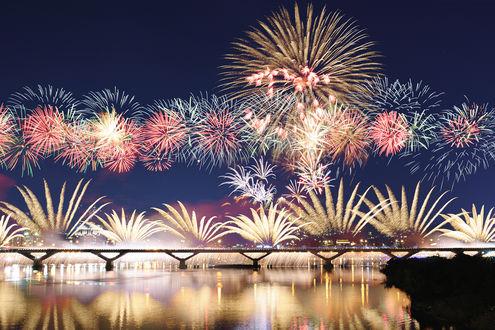 Обои Фейерверки над мостом в ночном небе