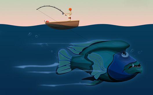 Обои Мечта каждого рыбака - огромная рыба, в два раза больше рыбачкой лодки, на крючке