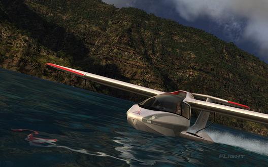 Обои Полет спортивного самолета с женщиной-пилотом над Гавайскими островами из игры Microsoft Flight