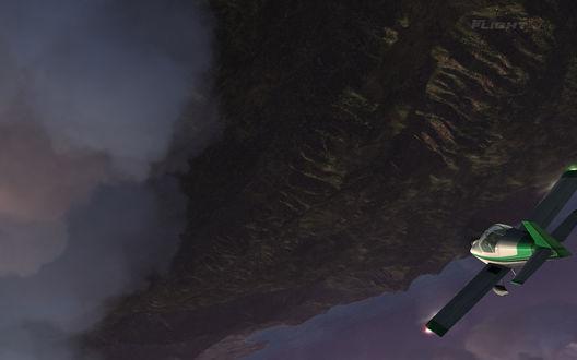Обои Небольшой спортивный самолет,  пролетающий над Гавайскими островами из игры Microsoft Flight