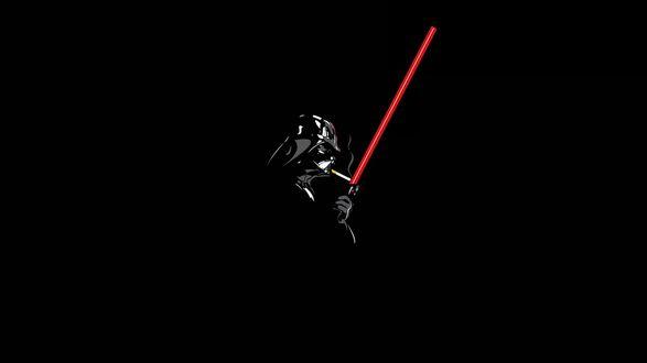 Обои Дарт Вейдер / Darth Vader главный герой киноэпопеи 'Звездные войны / Star Wars' прикуривает сигарету от светового меча