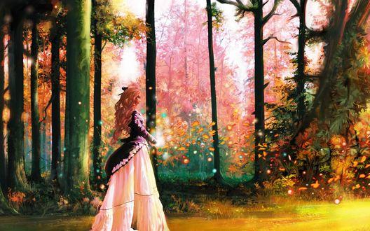Обои Девушка занимается магией в осеннем лесу